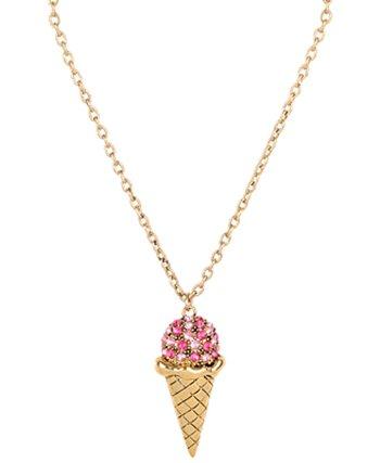 Rhinestone Ice Cream Cone Necklace