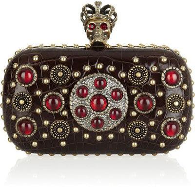 Alexander McQueen Byzantine Queen Skull Crocodile Box Clutch
