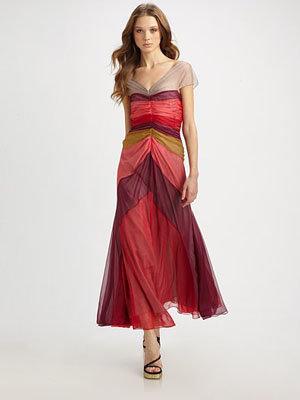Marc Jacobs Colorblocked Silk V-Neck Dress