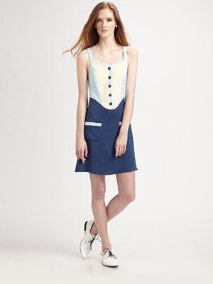 Marc Jacobs Bib Front Silk Tank Dress