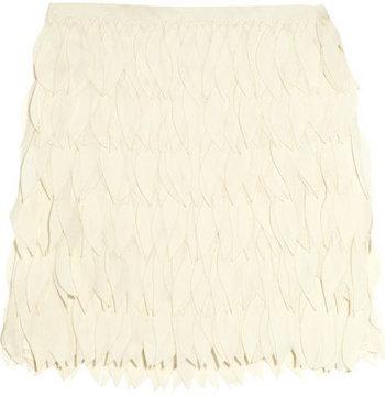 Haute Hippie Laser Cut Silk Chiffon Mini Skirt