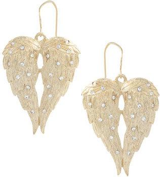 Kitson Angel Wings and Crystal Earrings