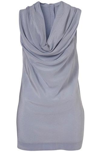 Topshop Blue Cowl Neck Silk Sleeveless Top