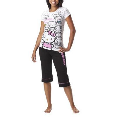 Hello Kitty and Friends Screen Print Crop Pant/Tee Pajama Set