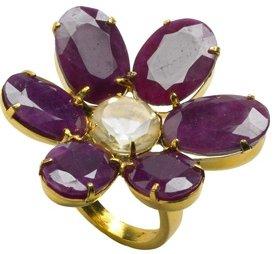 Ruby & Citrine Flower Ring