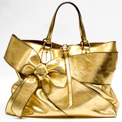 Valentino Gold Bow Shopper