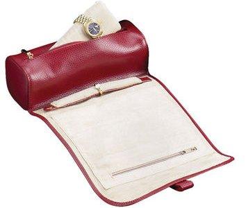 Red Split Grain Leather Jewelry Roll