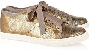 Lanvin Metallic Cracked Leather Sneakers