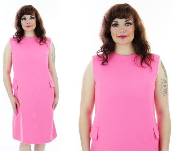 Mod Bright Pink Wool Dress 60s Vintage Sixties Shift