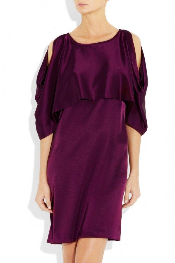 Clothing, Dress, Shoulder, Purple, Cocktail dress,