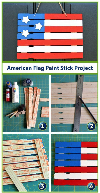 Make a Paint Stick American Flag