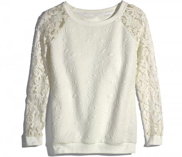 White Lace Sweatshirt