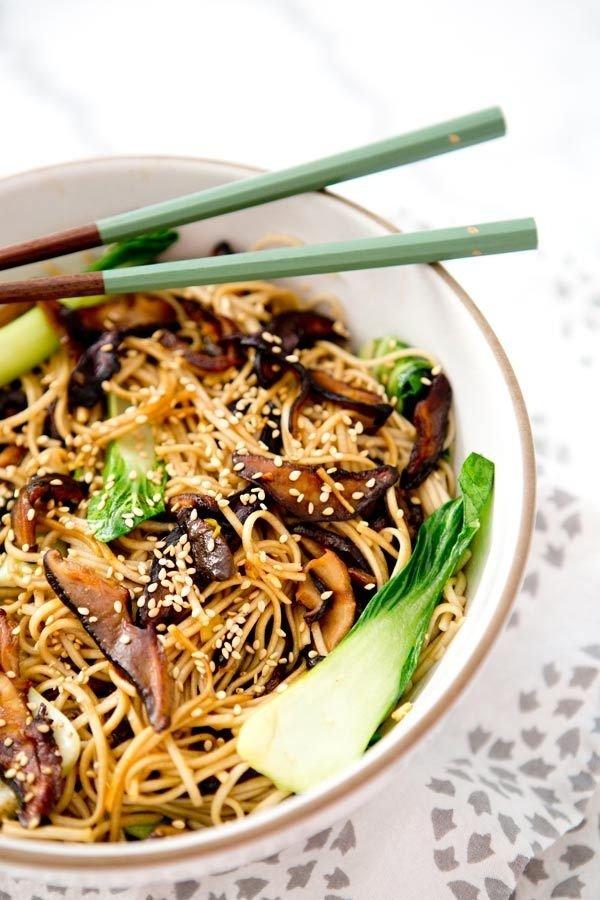 Braised Bok Choy Noodle Bowl