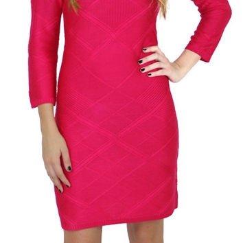 Jessica Simpson Women's Bodycon 3/4 Sleeve Sweater Dress