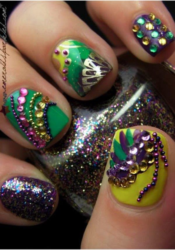 Sequins and Glitter - 31 Fantastic Mardi Gras Nail Art Ideas ...…