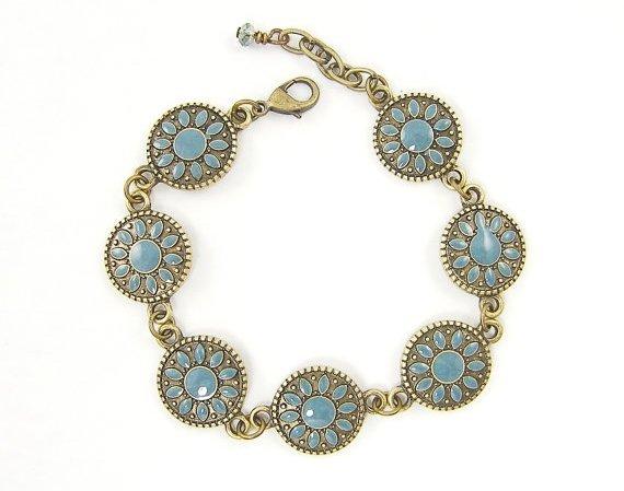 Teal Mandala Circle Bracelet
