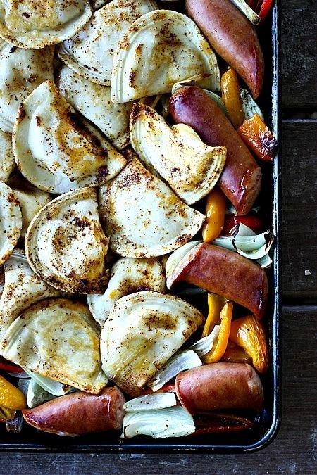 Kielbasa and Pierogie Sheet Pan Meal