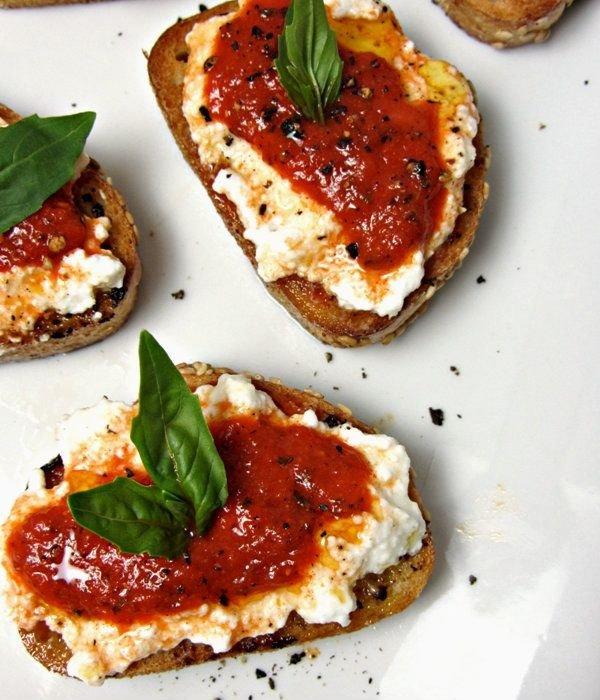 Roasted Red Pepper Ricotta Bruschetta