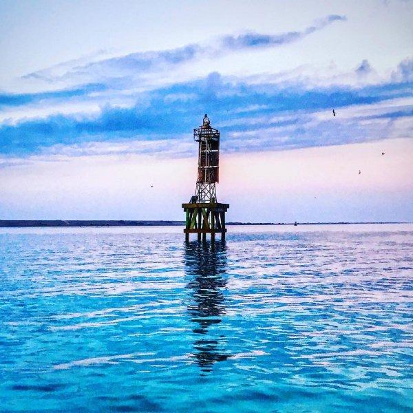 sea, water, calm, ocean, lighthouse,