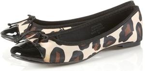Topshop Valentine Leopard Print Patent Toe Ballet Pumps