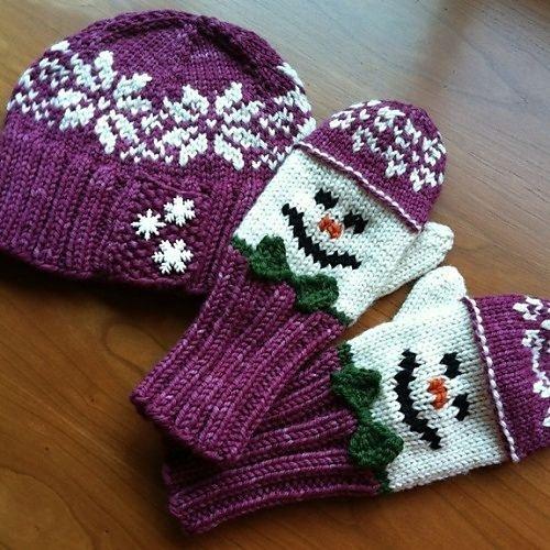 Snowman Hat and Mitten Set