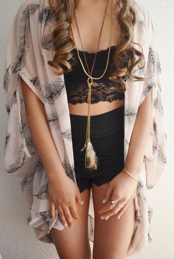Feather Kimono with Arm Holes