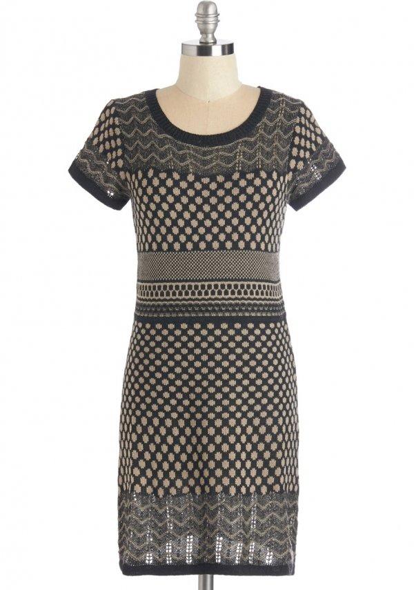 ModCloth Mid-length Short Sleeves Sweater Dress No Time like the Pleasant Dress