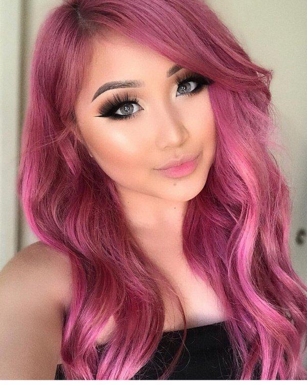 Hair, Eyebrow, Face, Hair coloring, Pink,