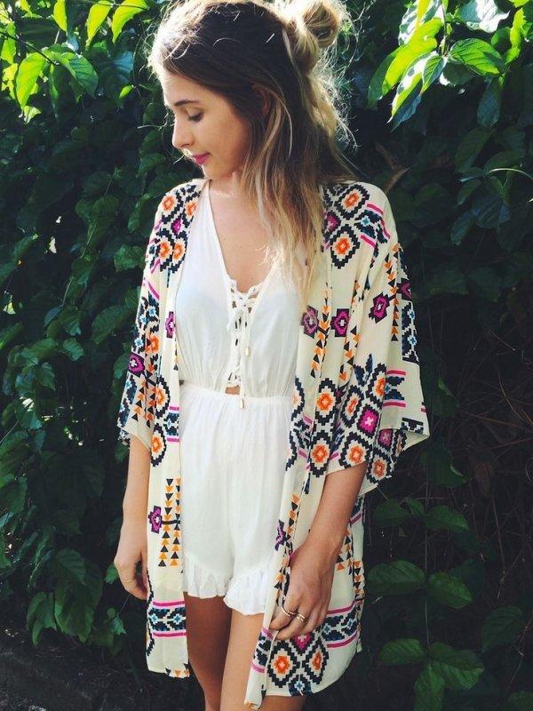 Aztec Print Kimono
