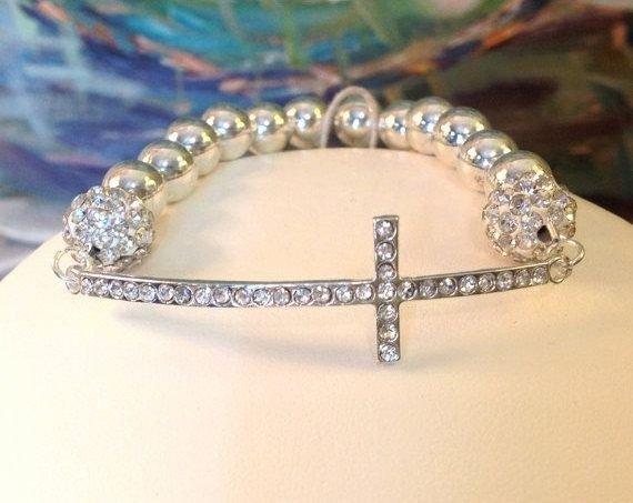 Silver and Rhinestone SIDEWAYS Cross Bracelet