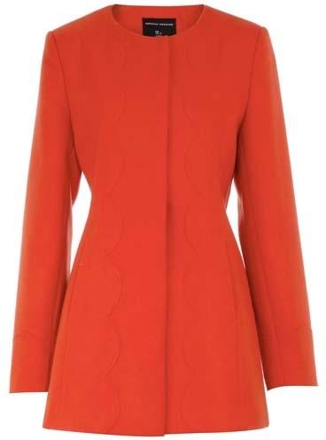 Dorothy Perkins Orange Scallop Minimal Coat