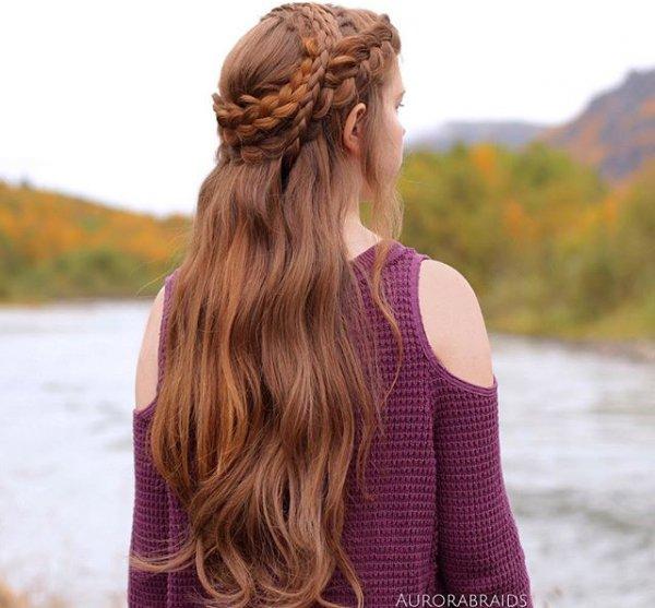 hair, hairstyle, long hair, brown hair, braid,