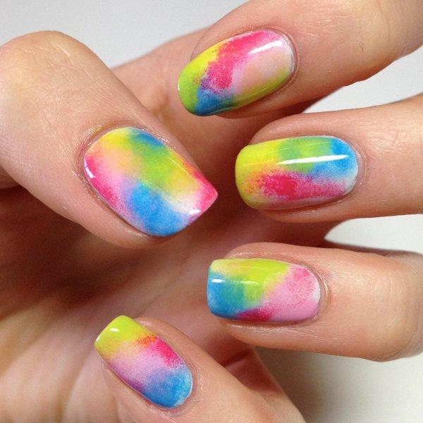 Rainbow Sponge Mani - 21 Fun Sponge Nail Art Ideas for Girls…
