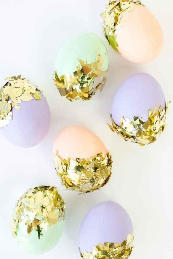 Eggs Dipped in Gold Confetti