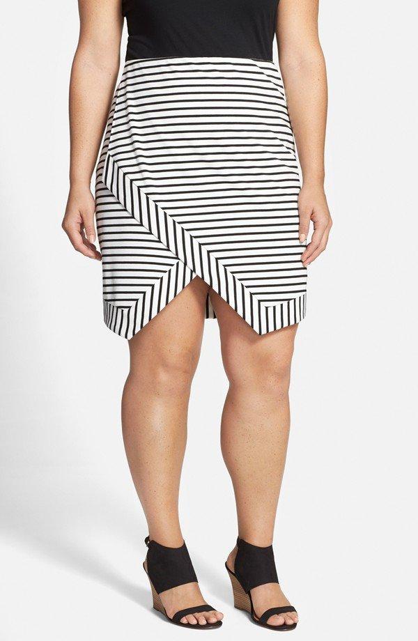 Destiny' Stripe Asymmetrical Wrap Front Skirt
