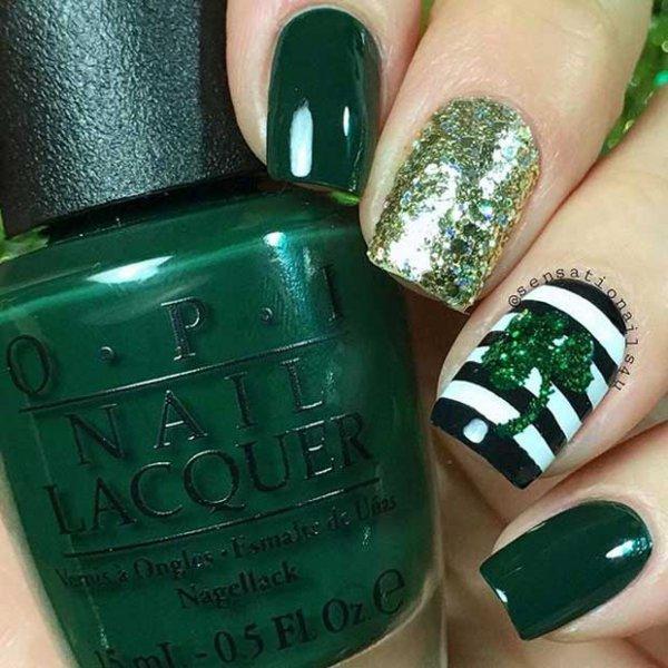 Dark Green - Dark Green - Spread The Luck: 50 Nail Designs For St. Patrick's…