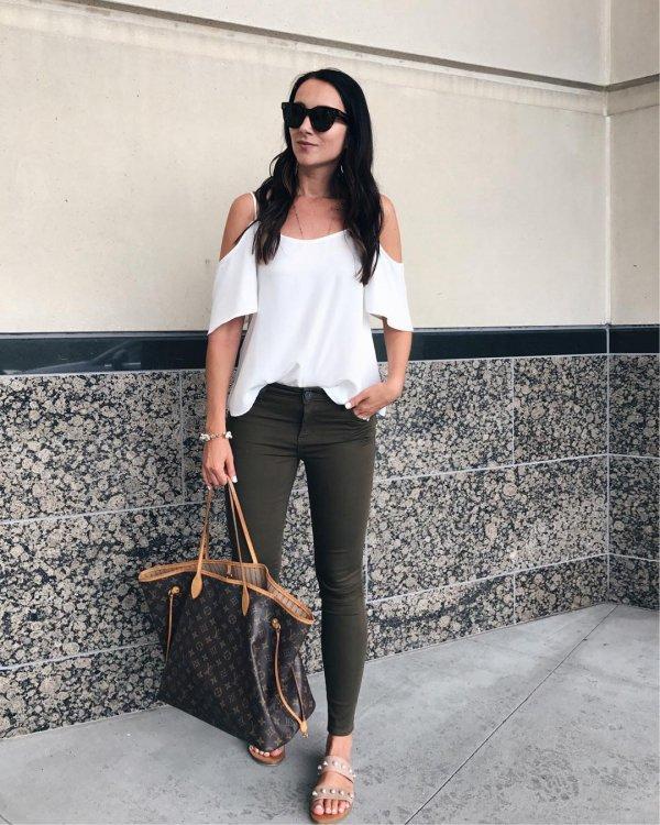 white, clothing, jeans, fashion model, shoulder,
