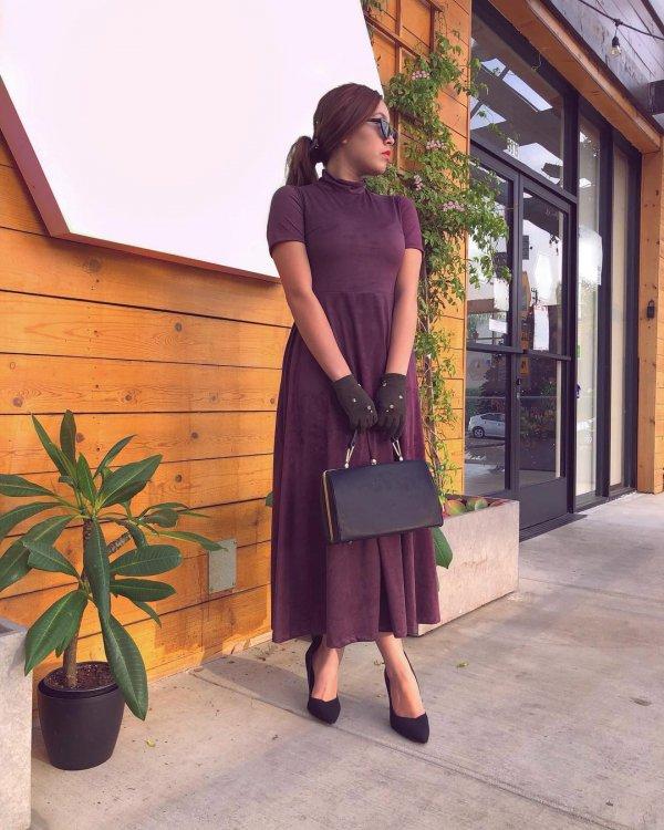 clothing, purple, dress, shoulder, standing,