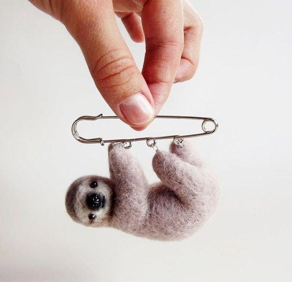 Felted animals Cute sloth Felt brooch Wool brooch sloth Miniature Sloth Felted pin Brooch sloth Sloth pin