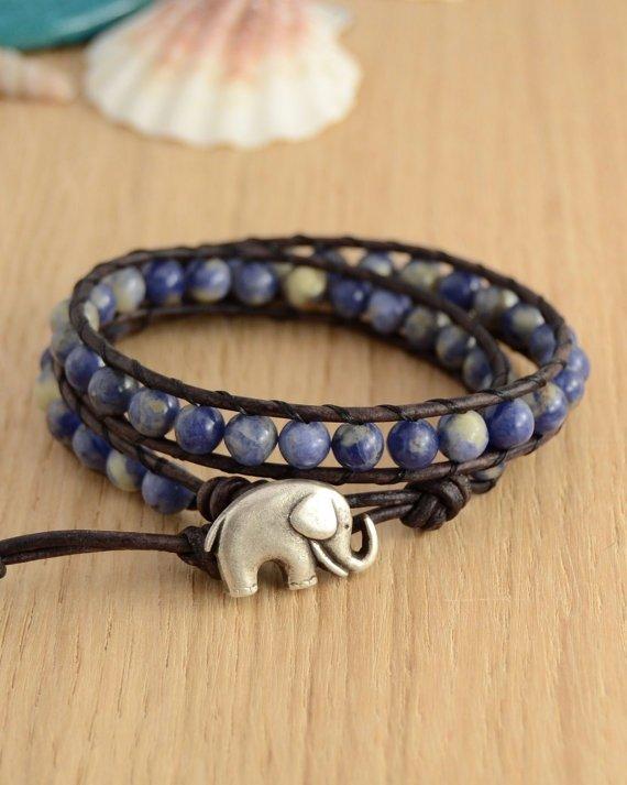 Blue Beaded Wrap Bracelet