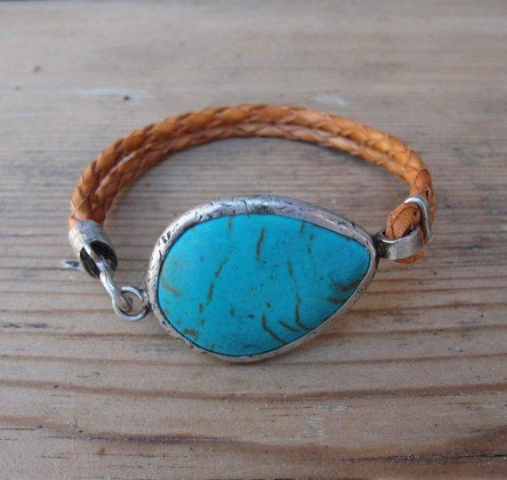 Leather Turquoise Bracelet