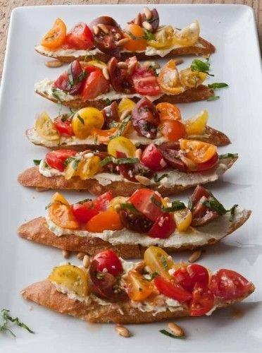 Tomato and Whipped Feta Bruschetta