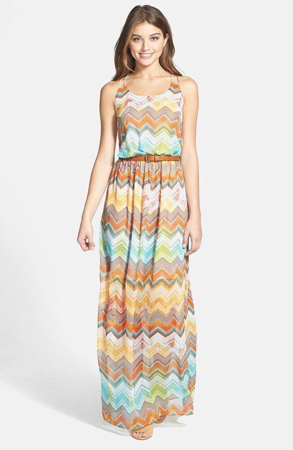 'Jackie' Zigzag Stripe Sleeveless Maxi Dress