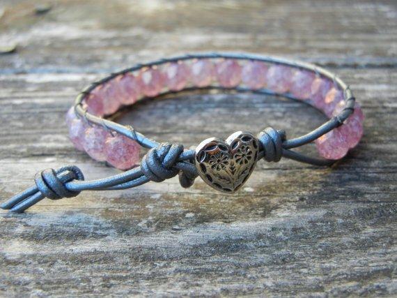 Beaded Leather Single Wrap Stackable Bracelet