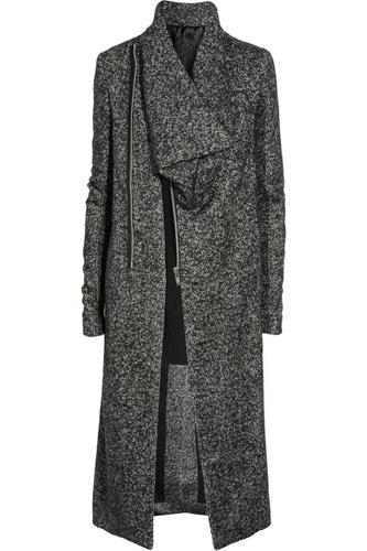 Rick Owens Asymmetric Wool-Blend Melange Coat