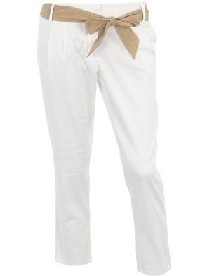 Dorothy Perkins White Bow Pleat Leg Trousers