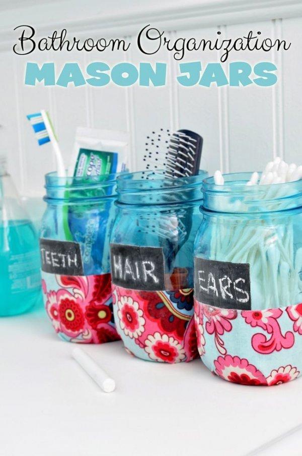 Bathroom Organization Mason Jars DIY