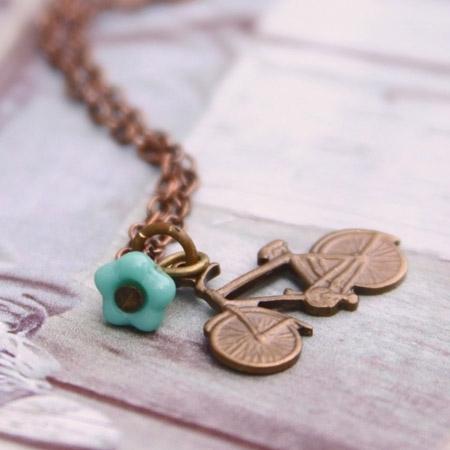 Walk or Ride Bicycle Necklace by Violet Bella