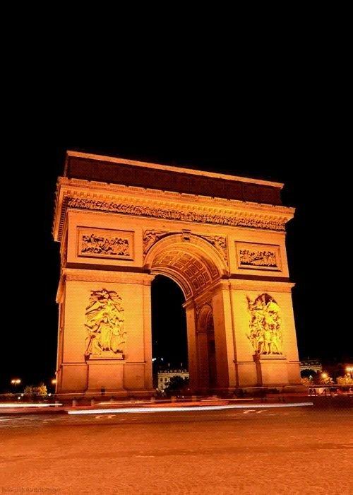Arc de Triomphe,arch,night,landmark,architecture,