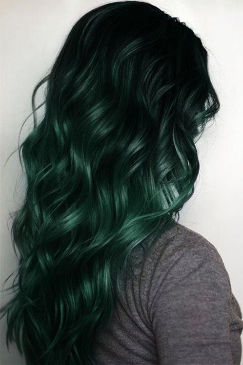 Black to Dark Green Mermaid Ombre